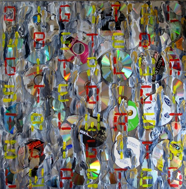 'Digital Waste' Broken Compact Disks and Acryl (70x70 cm) 2009 (A)